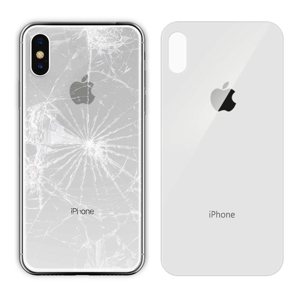 Apple iPhone X Replacement Back Glass Cover Back Battery Door w/Pre-Installed Adhesive,Best Version Apple iPhone X All Models OEM Replacement (White) by Jasmoc