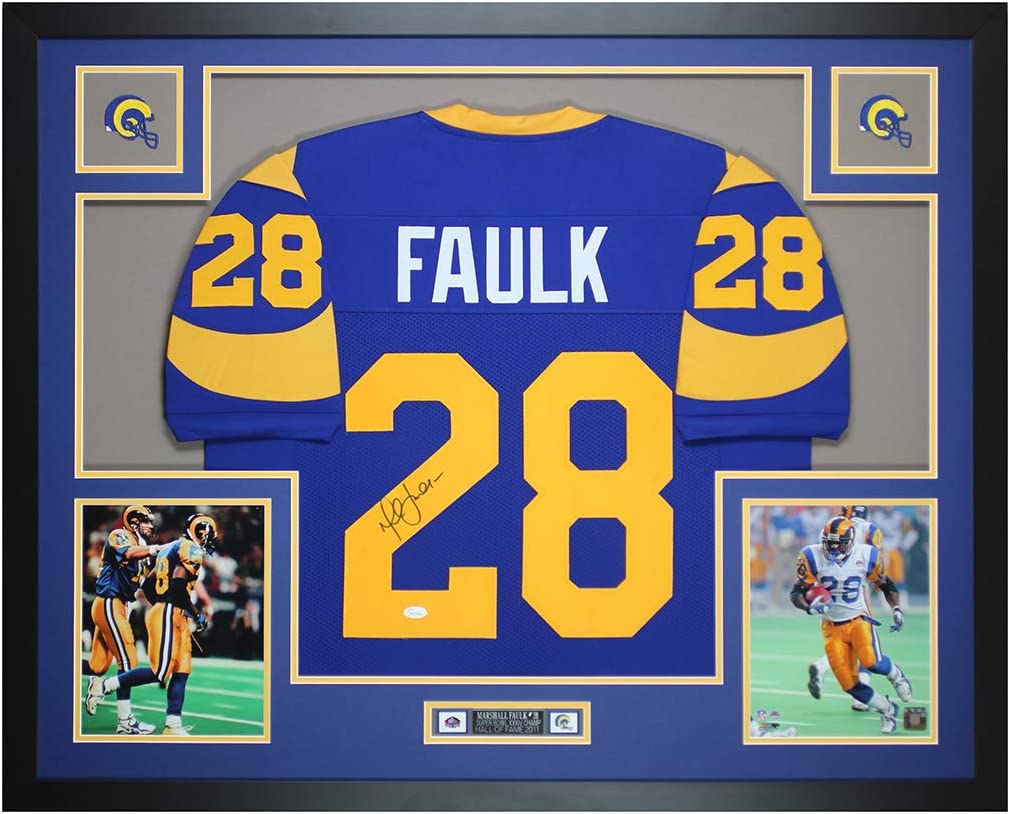 Marshall Faulk Autographed Blue St Louis Jersey - Beautifully ...