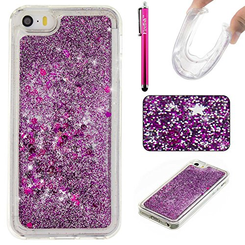 iPhone 5S/SE Case, Firefish Thin Sparkle Flexible TPU Gel Silicone [Ultra Thin] [Scratch Resistances] Back Cover Shell for Apple iPhone 5 5S SE -Purple