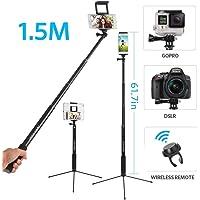 Perche Selfie Jusqu'à 1.5m 360° Trépied Selfie Stick 3en 1 Blutooth Extensible pour 2 Appareils Simultanément avec Télécommande Perche Selfie Baton Selfie Pliable Trépied Monopode pour Téléphone Gopro