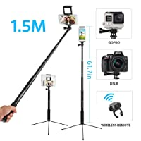 """Moreslan 59"""" Bluetooth Selfie Stick Tripod with Remote for Phone Tablet, 3 in 1 Extendable Monopod Tripod Stand for SLR Camera 360° Rotation"""