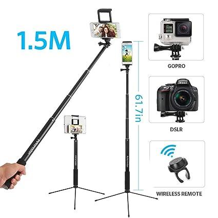 Moreslan 3 in 1 Bluetooth Selfiestick Stativ, (1.5 M) Selfie Stick Selfie Stange Mit Fernbedienung Erweiterbar 360°Rotation S