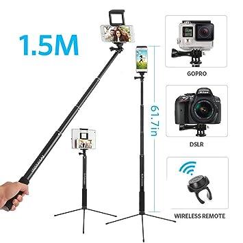 2 in 1 Palo Selfie Trípode 1.5M Bluetooth Aluminio y Trípode de Cámara y Móvil