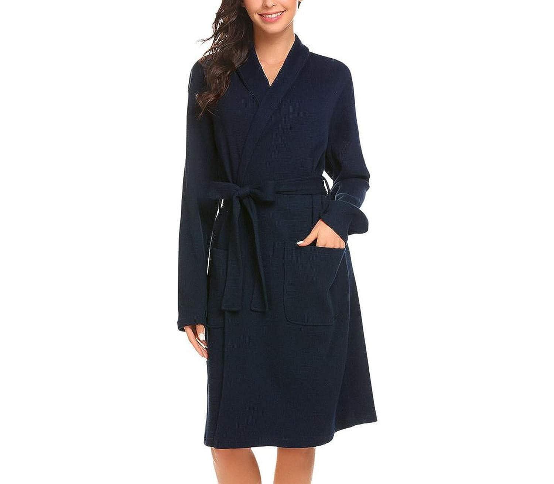 Dark bluee colorfulspace Women Sleep Robe Shawl Collar Wrap Long Sleeve Bathrobe Sleepwear with Belt