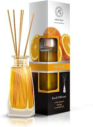 Orange Diffuser w/Orange Oil 3.4oz - Fresh Room - Long Lasting Fragrance - Scented Reed Diffuser Orange - Diffuser Gift Set - Best for Aromatherapy - Home - Orange Essential Oil Diffuser by AROMATIKA