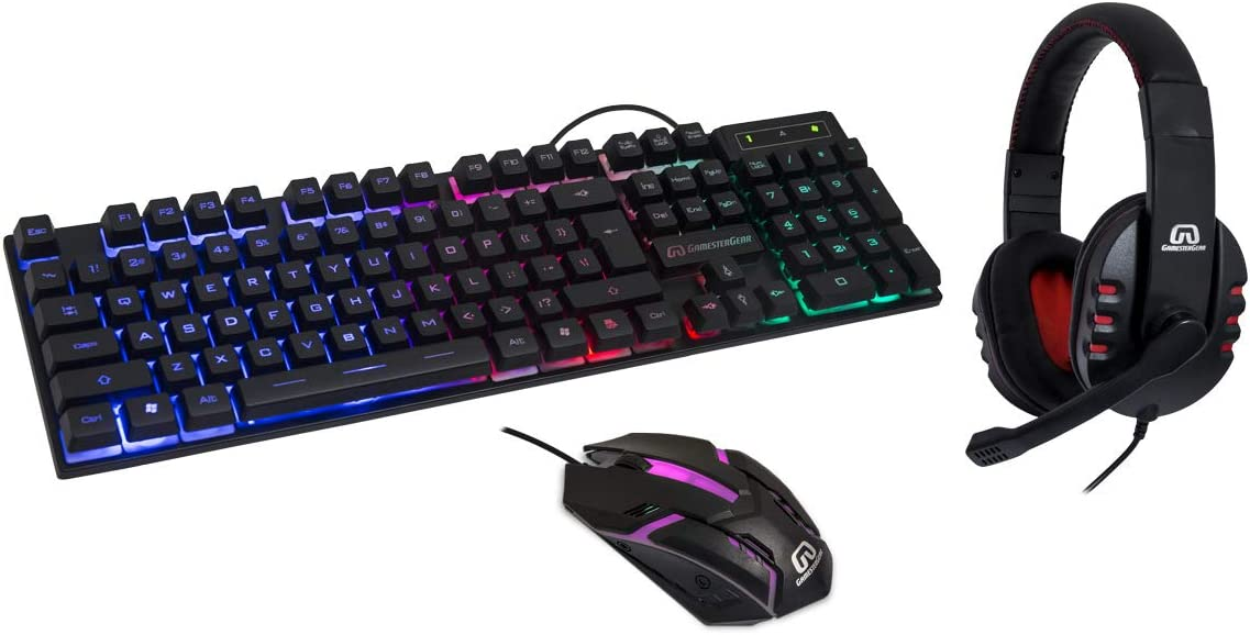 RGB PC Gaming Accessories Combo Kit - USB Spill Proof Keyboard – Wired Gaming Mouse 3 Button Optical Mouse - Stereo Gaming Headset Dual 3.5mm Jack