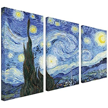 ArtWall 3-Piece Starry Night by Vincent Van Gogh Gallery Wrapped Canvas Artwork, 36 by 54-Inch
