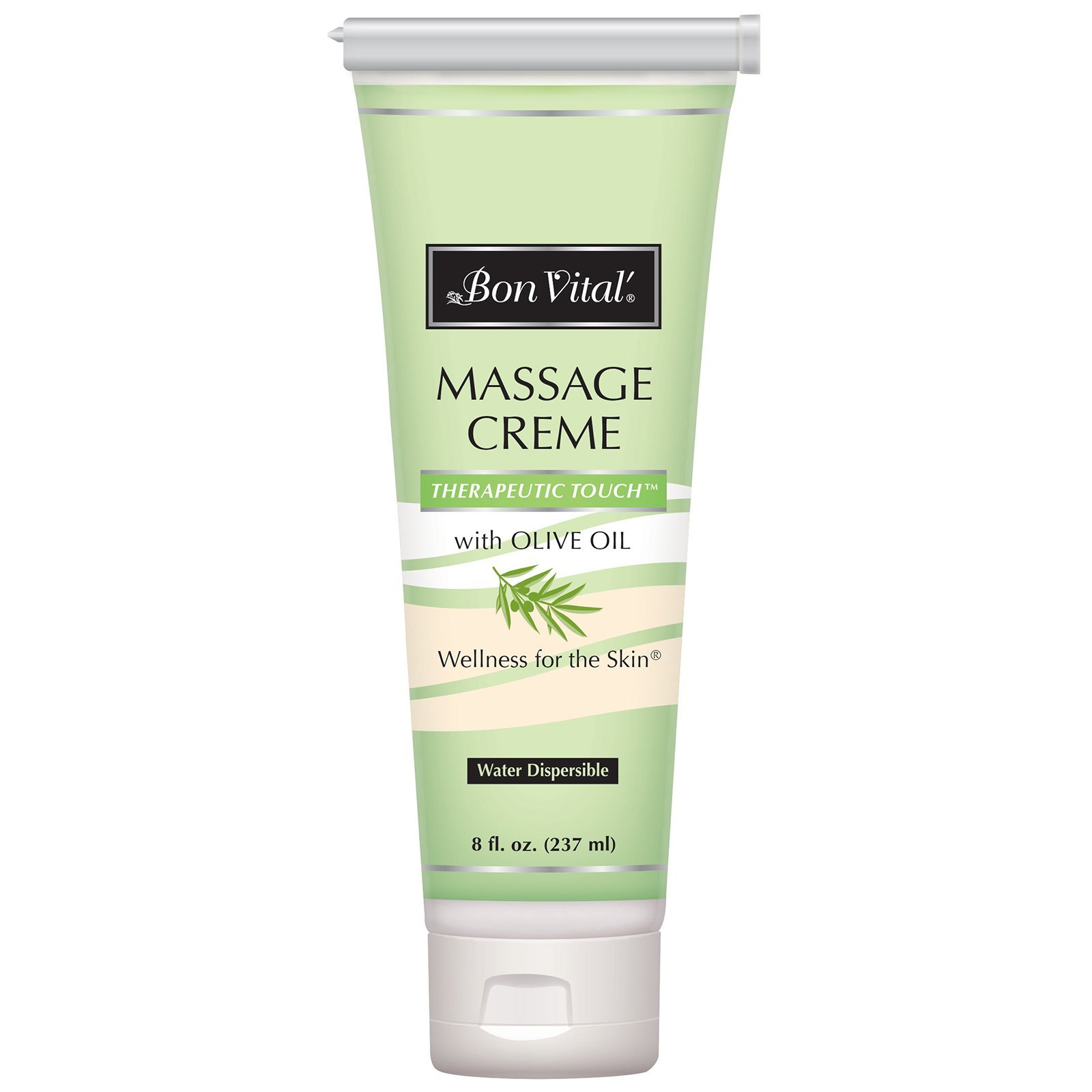 Bon Vital' Therapeutic Touch Massage Crème, Professional Massage Therapy Cream with Olive Oil to Repair Dry Skin & Soothe Sore Muscles, Full Body Moisturizer For Youthful Looking Skin, 8 Ounce