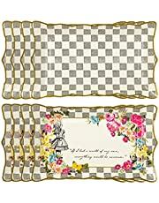 """Talking Tables Truly Alice Food Serving Platter 12"""" x 7.5"""" a Tea Party Birthday, Multicolor"""