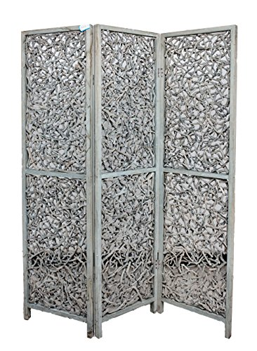 Wood Panel Screen Three (3 Panel Solid Wood Screen Room Divider Rustic Grey Color, by Legacy Decor)