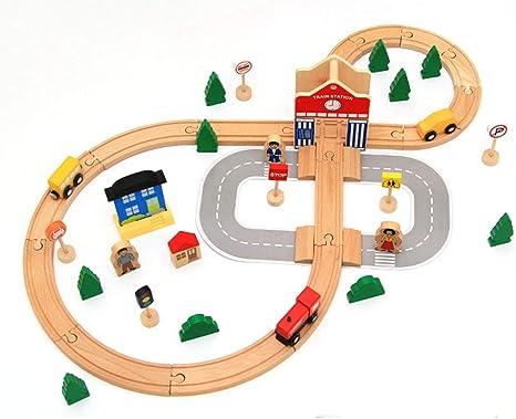 SOSAWEI Juego de Viaje en Tren y Carretera, Juego de Juguetes de Madera Juego de Autos