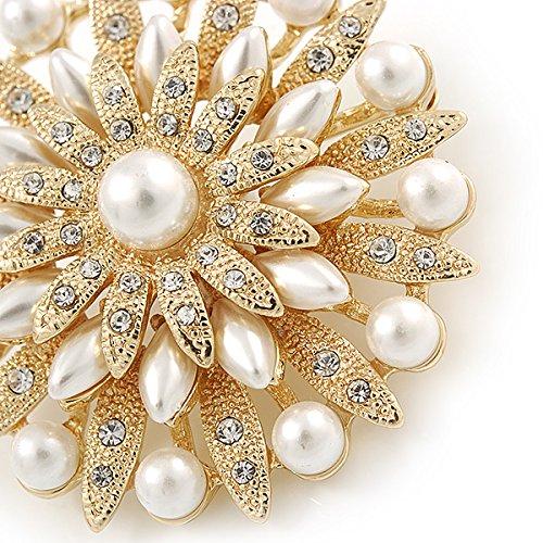 nuziale vintage ispirato bianco finta perla /50/mm D cristallo austriaco Layered spilla floreale in tonalit/à oro/