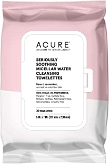 product image for ACURE Seriously Soothing Micellar Water Towelettes | 100% Vegan | For Dry to Sensitive Skin | Rose & Cucumber - Gently Removes Makeup and Cleanses | Simply Wipe & Go | 3 Pack