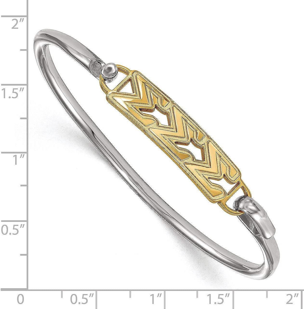 Lex /& Lu LogoArt Gold Plated Sterling Silver Sigma Sigma Sigma Small Hook and Clasp Bangle LAL157013