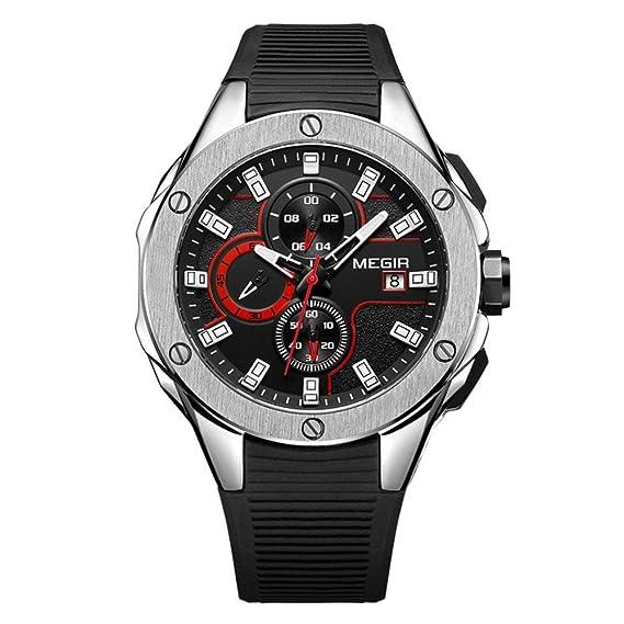 Megir Reloj Hombre Militar Deportivo Shock Marca de Lujo diseño Casual cronómetro analógico Buceo Cuarzo Reloj para Hombre: Amazon.es: Relojes