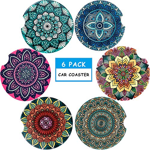Car Coasters Pack of 6 -Ceramic Coasters Mandala Styles, Round Coaster Sets with Absorbent Stone-Auto Cup Holder Coasters For Women Men Drinks Car Accessories, Small 2.56