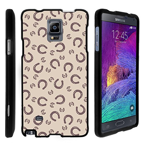 Samsung Galaxy Note 4 Case, Full Body Armor Hard Protector Case Cover with Image Design for Samsung Galaxy Note 4 SM-G910 (AT&T, Sprint, T Mobile, US Cellular, Verizon) from MINITURTLE | Includes Clear Screen Protector and Stylus Pen - Horse Shoe Pattern