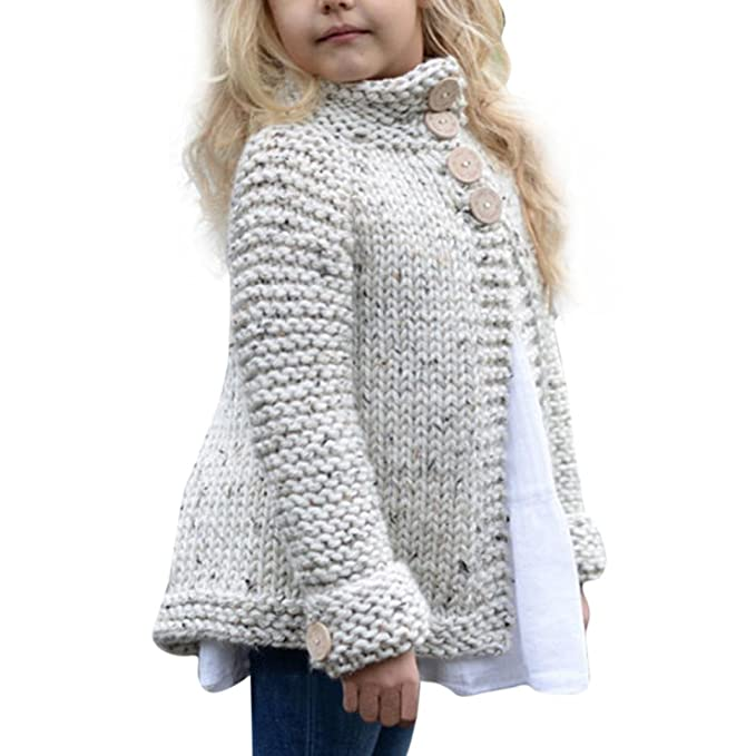 Amazon.com: Vovotrade Toddler Kids Baby Girls Outfit Clothes Button Knitted Sweater Cardigan Coat Tops: Clothing