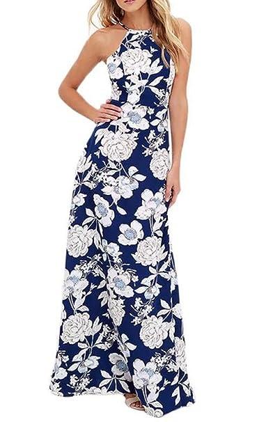 Vestidos Largos De Verano Mujer Elegantes Vintage Boho Impresión Floral Vestido Playa Sin Mangas Talle Alto Sin Espalda Moda Bonita Vestidos De Fiesta ...