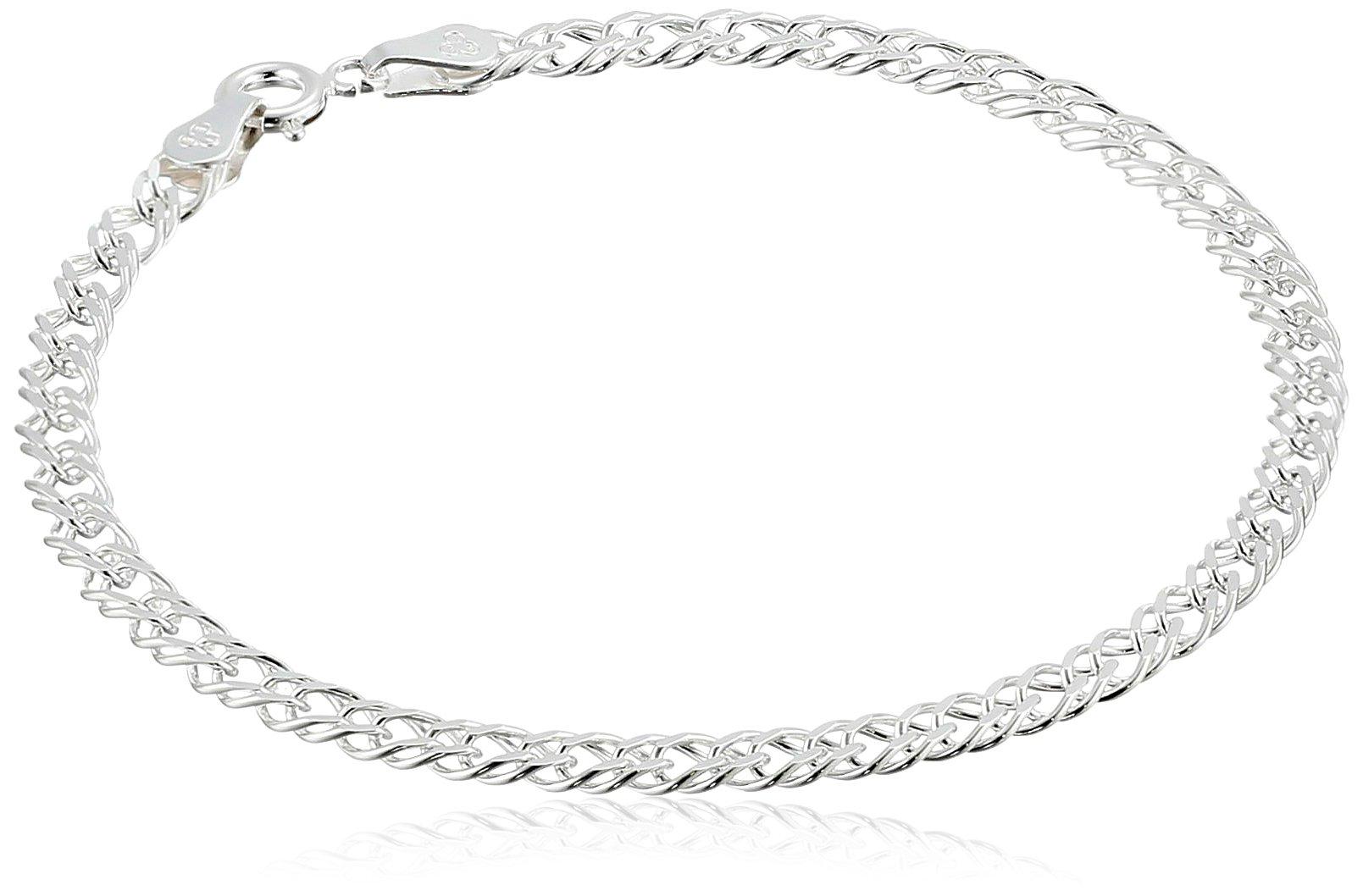 Sterling Silver Interlocking Geometric Link Bracelet, 7.25''