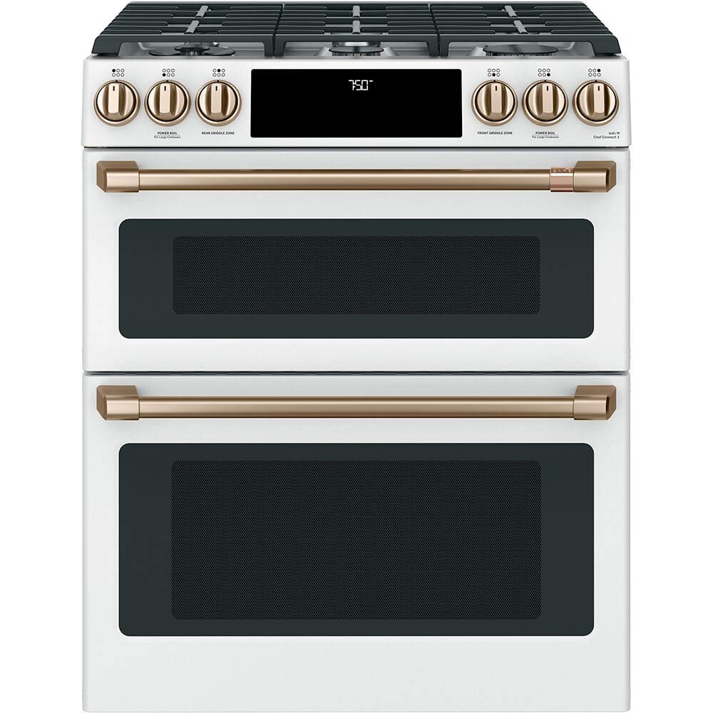 "Cafe 30"" Matte White Slide-In Double Oven Gas Range with Convection"
