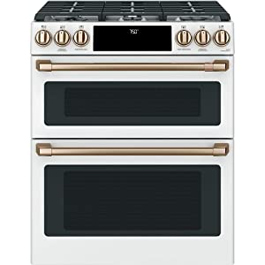 """Cafe 30"""" Matte White Slide-In Double Oven Gas Range with Convection"""