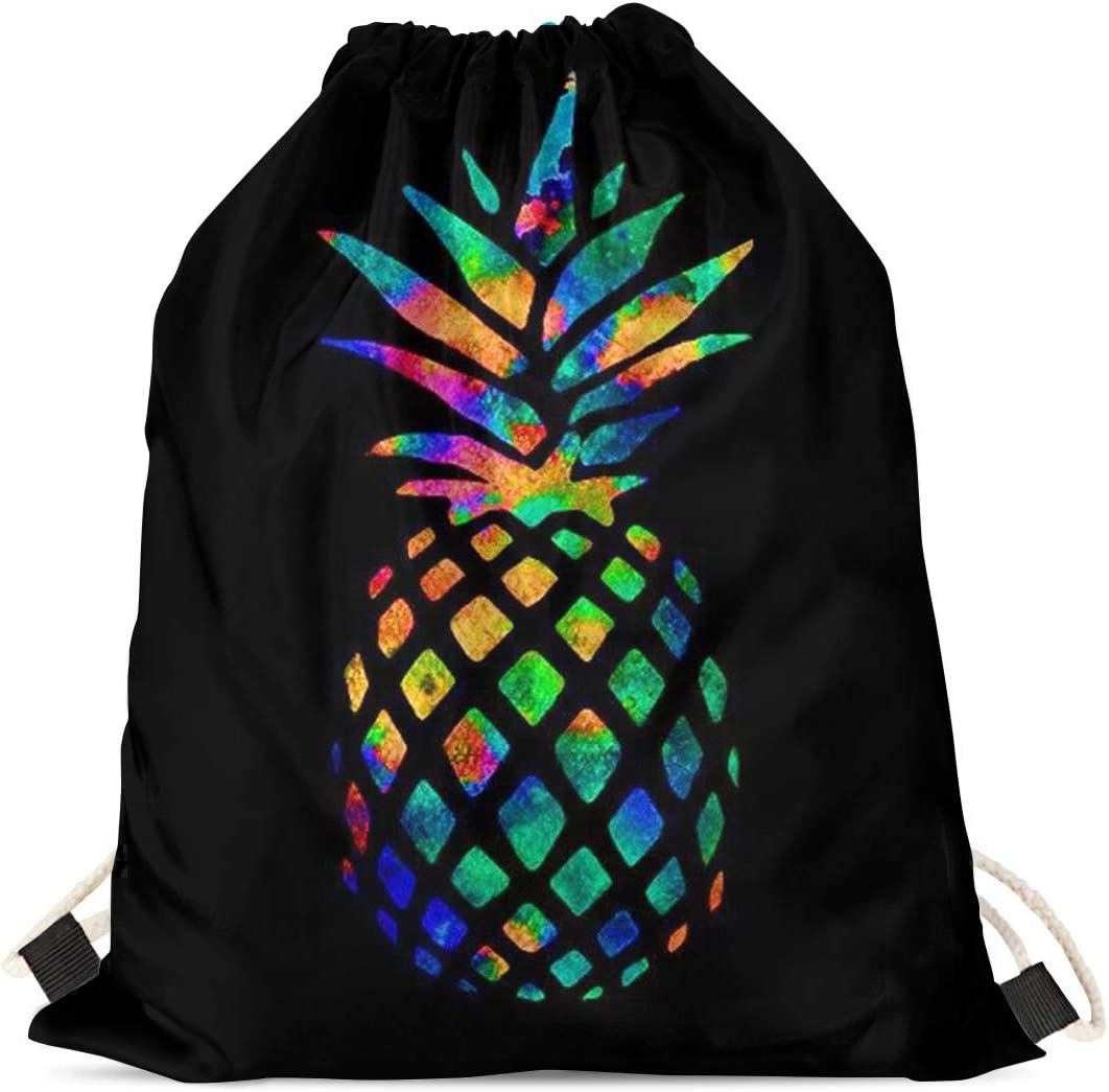 INSTANTARTS Fruits Pineapple Print Lightweight Drawstring Backpack Gymsack Cinch Bag (Black)