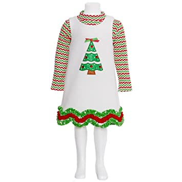 ivory fleece christmas tree dress set 12 month 5 18 months - 12 Month Christmas Dress
