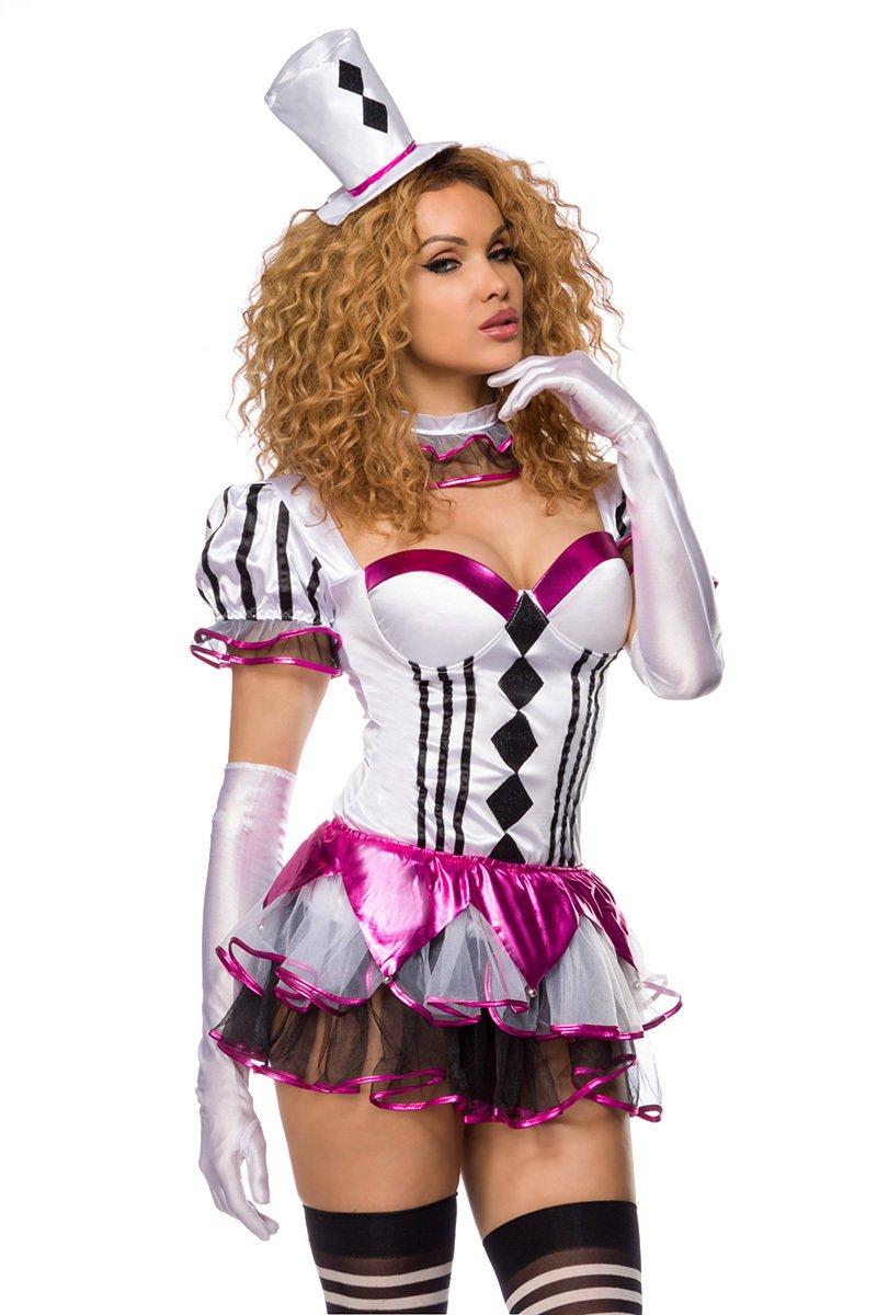 Damen Harlekin Kleid Kostüm Verkleidung mit Hut, String, Halsband aus mit Karo Muster Satin M