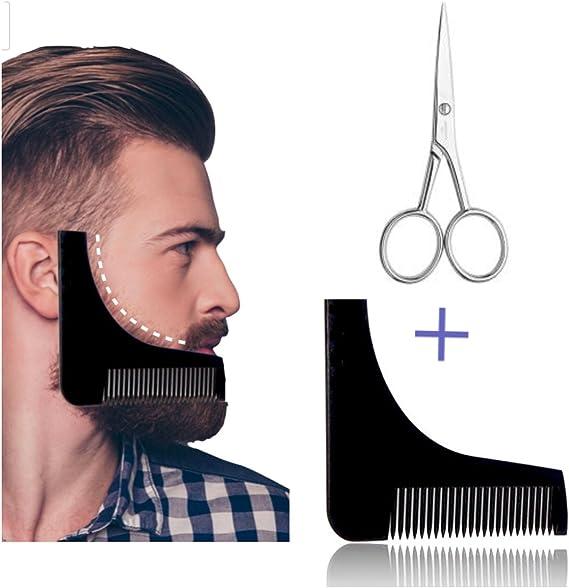 Plantilla para el cuidado de la barba con tijeras y peine, ayuda ...