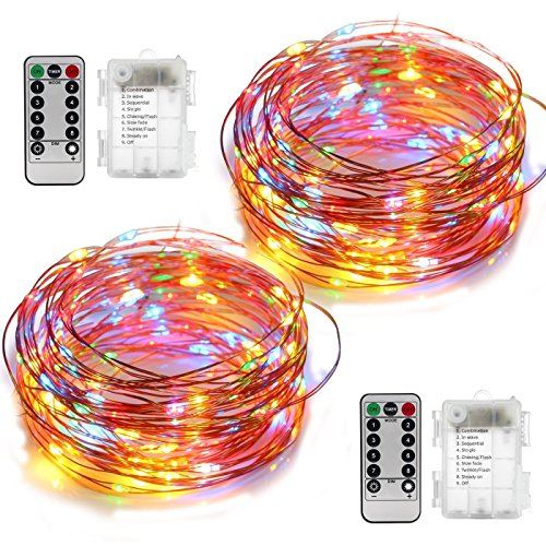 YIHONG 2 Set Fairy Lights Christmas String Lights Battery Operated 8 Modes 50 LED 16.4FT Fairy String Lights Portable Twinkle Firefly Lights Remote Timer for Bedroom Garden Party Decoration Multicolor