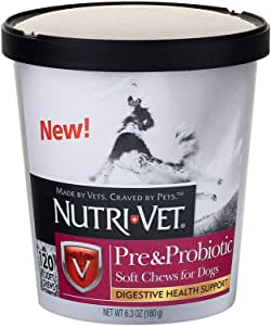 Nutri-Vet Pre and Probiotic Soft Chews for Dogs   Digestive Health Support Dog Probiotics   Tasty Alternative to Dog Probiotic Powder   120 Soft Chews