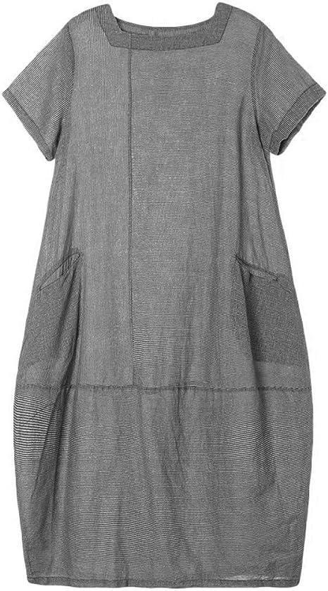 BINGQZ Casual Vestido Vestido de algodón y Lino Mujer Verano Mujer Suelta Lino Falda Larga Moda Gris Vestido de Gran tamaño Verano: Amazon.es: Deportes y aire libre