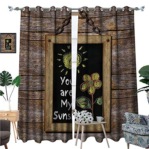 (BlountDecor Quote Thermal Insulating Blackout Curtain Love Valentines Phrase with Flower and Hand Drawn Sun Figure on Framed Wooden Wall Patterned Drape for Glass Door W108 x L84 Multicolor)