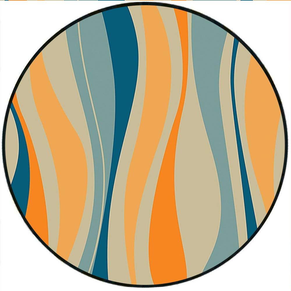 Amazon com: Short Plush Round Carpet Retro Vibrant Stripes