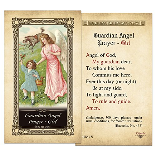 - Guardian Angel Prayer - Girl Laminated Holy Card - Pack of 25