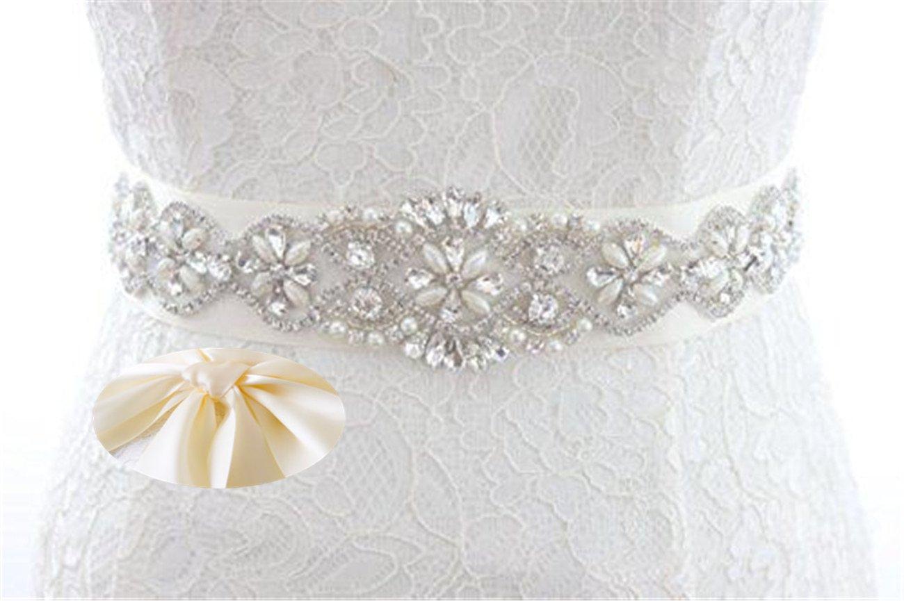 QueenDream Iridescent Rhinestone Belt Pearl Bridal Belt Light Ivory Wedding sash Wedding Bride sash