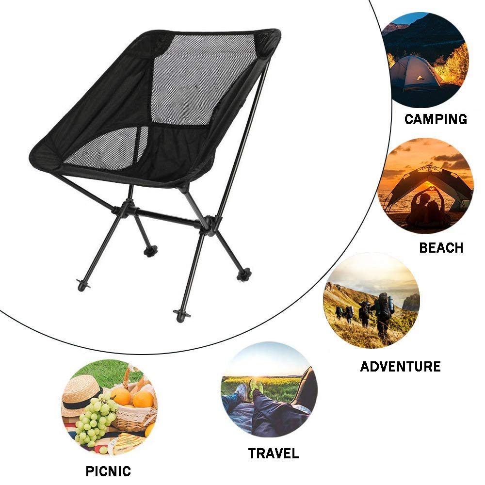 FBSPORT Lightweight Folding Camping Backpack Chair, Compact & Heavy Duty Portable Chairs for Hiking Picnic Beach Camp Backpacking Outdoor Festivals