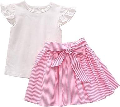 Julhold - Conjunto de 2 Piezas de Faldas a Rayas para bebés y niñas, de algodón Macizo, con Lazo y Falda a Rayas, para Verano de 1 a 5 años: Amazon.es: Ropa y accesorios