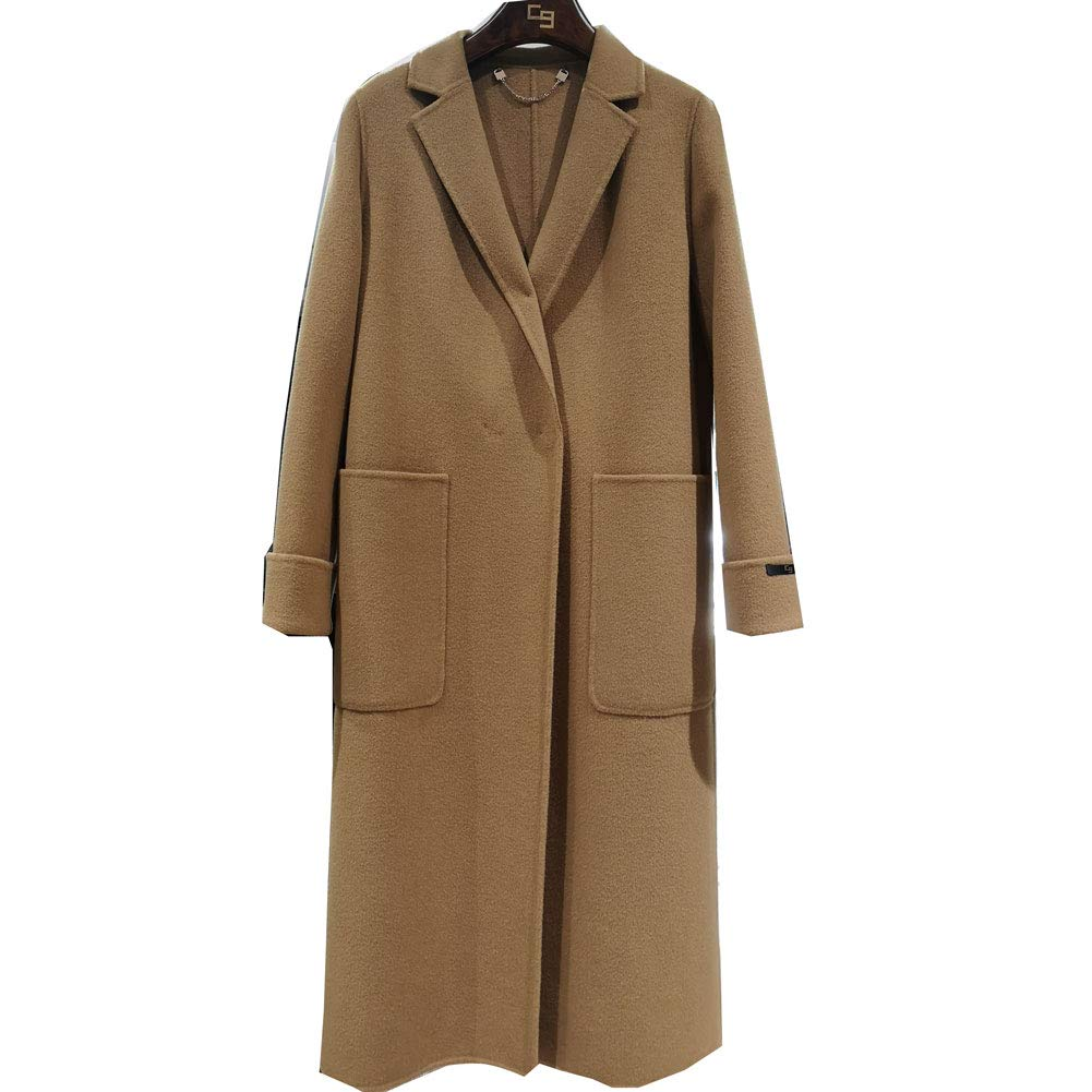 CG Women's Double Breasted Wool Coat Long Button Closure Jacket Overcoat Plus Size 890G120 (Camel, L)