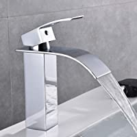 Chrome Waterfall Bathroom Faucet Single Handle Single Hole Bathroom Sink Faucet, Washbasin Faucet with Deck