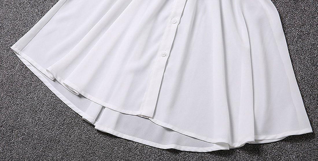 Tanming Womens Slim Elastic Waist Half Sleeve Chiffon Dress Suit-Three-Piece