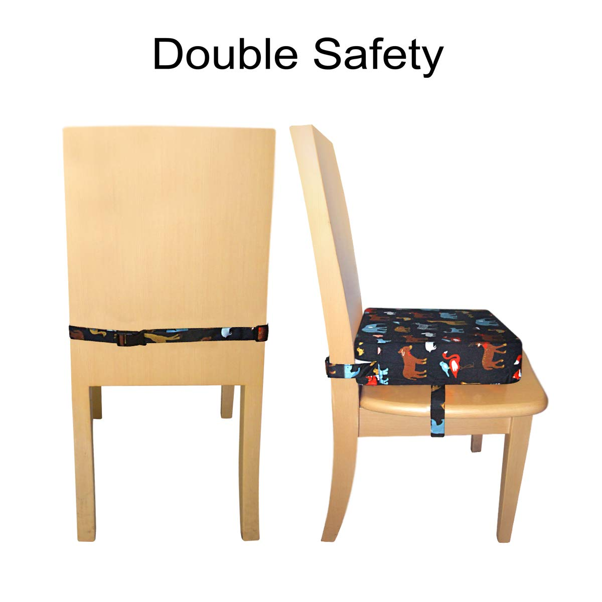 Black Sunmall Dining Chair Heightening Cushion Portable Dismountable Adjustable Highchair Booster for Baby Toddler Kids Infant Washable Thick Chair Seat Pad Mat