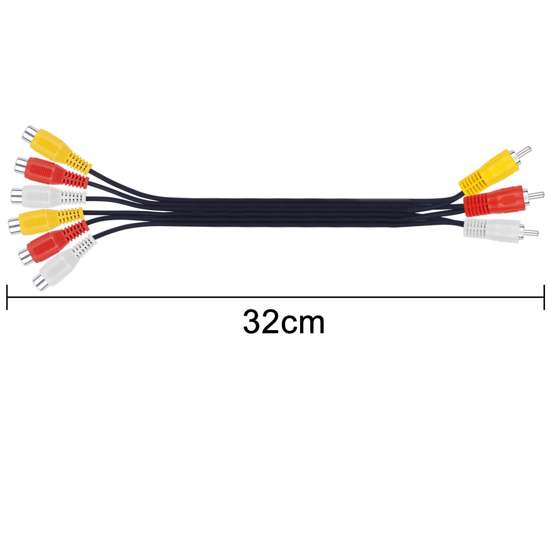BronaGrand 3 RCA Male Jack to 6 RCA Female Plug Splitter Audio Video Av Adapter Cable 12inch