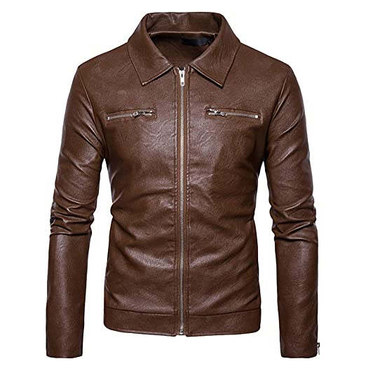 Amazon.com: WUAI Mens Leather Jackets Clearance,Casual Outdoors Biker Motorcycle Slim Fit Full-zip Fashion Outwear(Khaki,US Size XS=Tag S): Clothing
