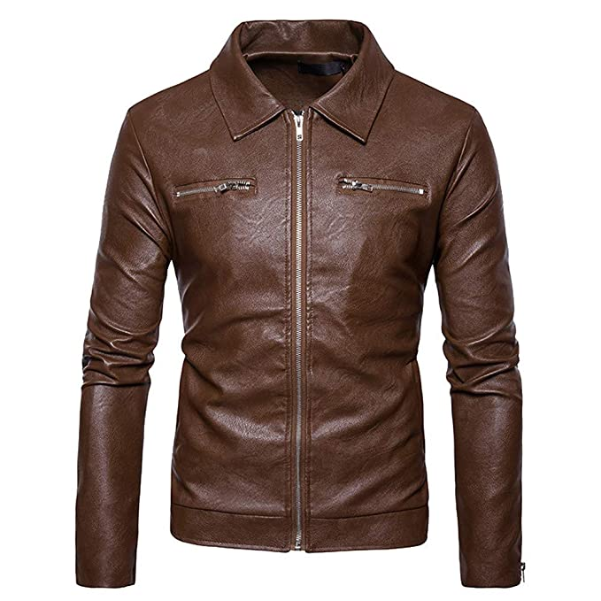 WUAI Mens Leather Jackets Clearance,Casual Outdoors Biker Motorcycle Slim Fit Full-zip Fashion