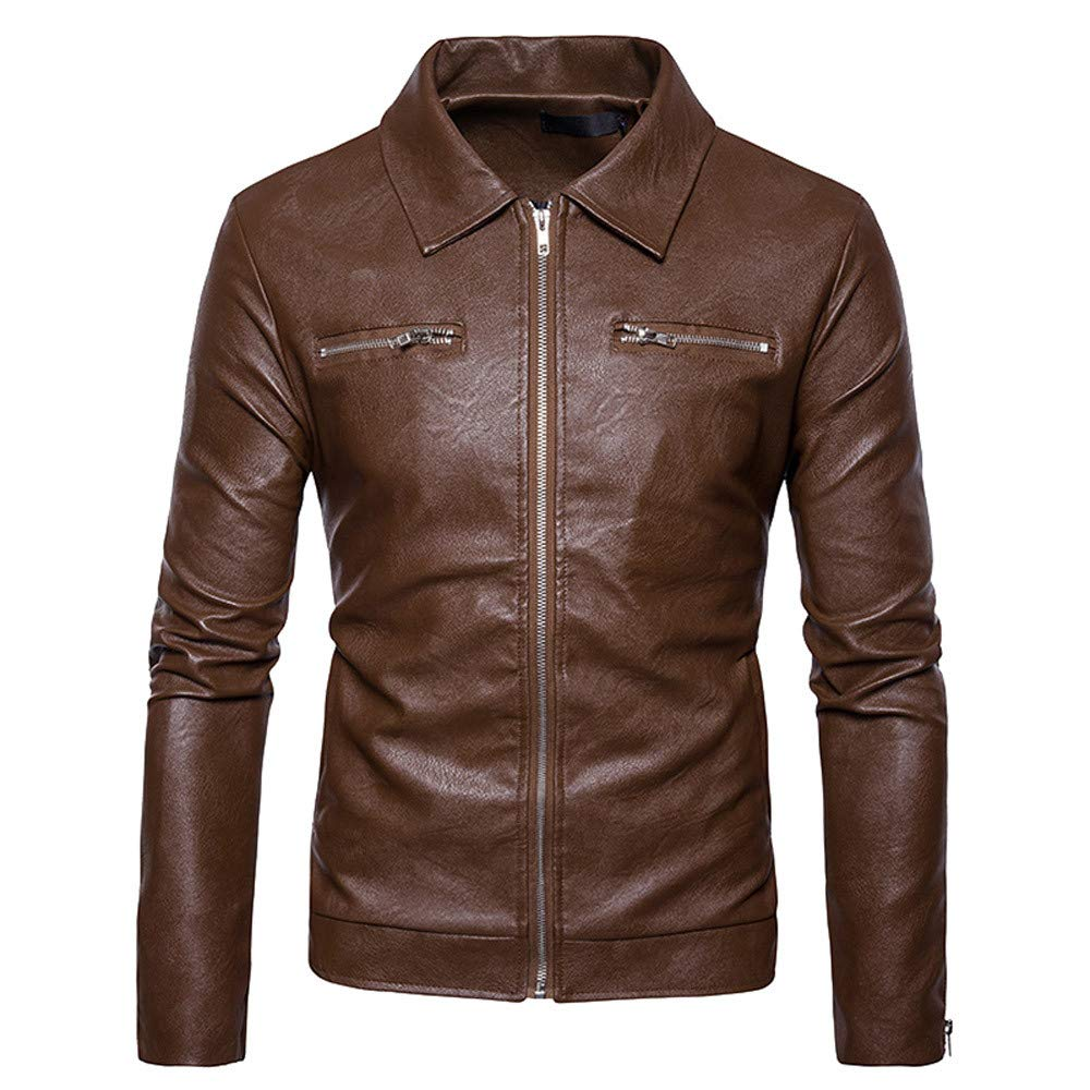 Faionny Men PU Leather Jacket Stand Collar Parka Zipper Jacket Coat Long Sleeve Blazer Slim Solid Coat Autumn Winter Outwear