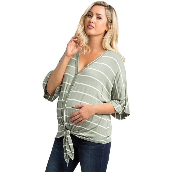 83e812ce3 GUCIStyle Mamá Camiseta de Enfermería Maternidad Lactancia Materna Manga  Larga Sudaderas Blusa Camisas a Rayas Cuello en v  Amazon.es  Ropa y  accesorios