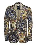 Best Designer Suits For Men - XPOSED Mens Yellow Blue Paisley Printed Italian Designer Review
