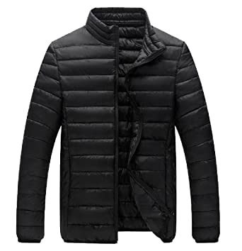 Tootless-Men Fitted Solid Light Long Sleeve Thicken Down Coats ...
